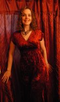 Heather with Red Curtain 03 by LinzStock