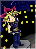 Yugi in the city by eeveelover