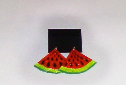 Glittery Watermelon Earrings by Oceanisuna