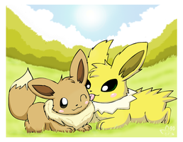Jolteon and Eevee by pichu90
