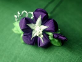 Purple asagao kanzashi by elblack