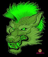 Radioactive mohawk wolf by missmonster