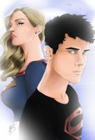 Superboy and Supergirl by Kin-Tsuki