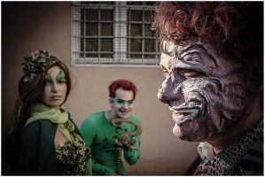 Poison Ivy and Two Faces with Riddler by Cosmy-Milord