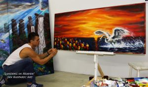 Signing the 'Landing in Heaven' by Jan-Kasparec