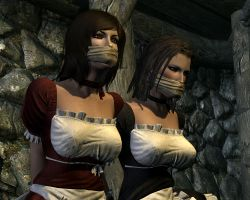 Two maids tied up and  gagged 1 by skygaggedrim
