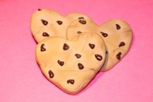 Realistic Heart Shaped ChocolateChip Cookie Magnet by ClayConfectionary