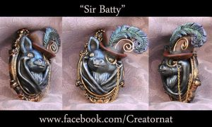 Sir Batty Sculpted Brooch Pin *SOLD* by natamon