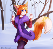 Snowy trees by ChessiChi