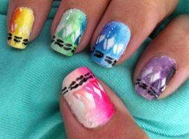Melted crayons nail art by amanda04