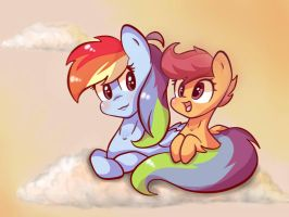 [MLP:FIM]- RainbowDash and Scootaloo by FlutterKiller