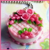 Pink Rose Cake Necklace by cherryboop