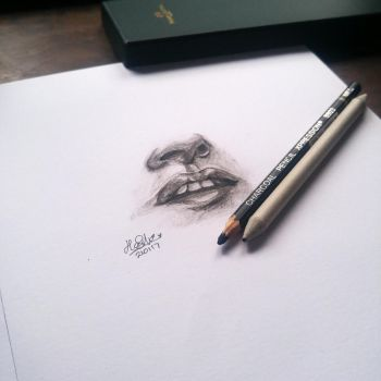 Lips charcoal drawing by likeyme