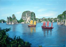 Two junks in Halong Bay by Sabinzart