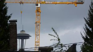 Space Needle at Shaft Capitol Hill of Seattle2 by Poorartman