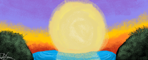 MS paint sunset by pinkcatlover14o