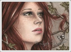 Autumn Girl ACEO by Zindy