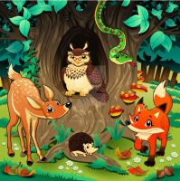 Animals in the wood. Cartoon vector illustration by neptune82