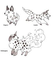 Fakemon Fire Starters by MetalReaper