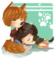 [B1A4] Fox and Pup by jaljello