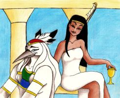 Thoth and Maat by Aryang