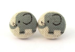 Elephant stud earrings button kawaii children kids by KooKooCraft
