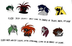 Elven skin, hair, and eye colors by Jakegothicsnake