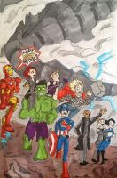 Avengers V.S. Godzilla: Dudes your on your own... by AvengerBlackwidow