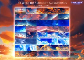 40 SUPER HQ ANIME SKY BACKGROUNDS - PACK 10 by ERA-7