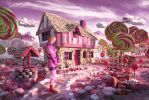 Prince Gumball (Adventure time) in Candyland by vampire--kitteh