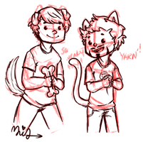 Puppy!Steve and Kitten!Tony by MiracleScribbler