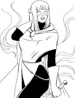 Magik in New Mutants graduation costume inks by SatyQ