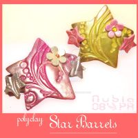 Polyclay Star Barrets by colourful-blossom