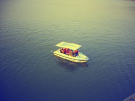 Solo boat on the water by Laura-in-china