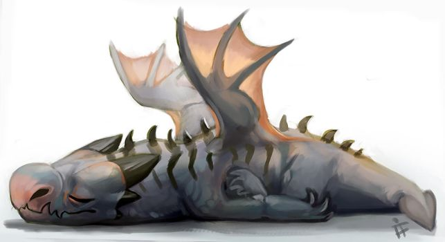 Tired Baby Dragon by ALRadeck