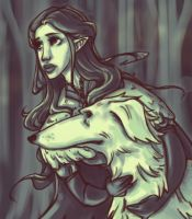 Luthien and Huan by ABlume