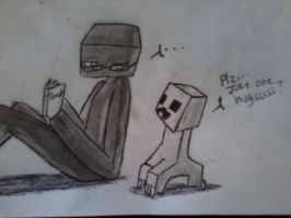 Asking for a hug-Enderman and Creeper by BrokenWingsOfLight