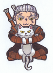 Chibi Witcher Geralt with a Kitty by AngelaSasser