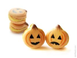 Halloween Pumpkin Macarons Earrings Post by allim-lip