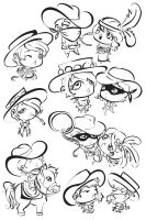 Wild West Chibi Line Art Dump by labrattish
