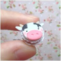 Polymer Clay Cow Macaron by tokai-chan