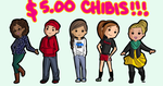 $5.00 Chibis! by Pilot-Obvious
