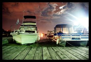boats at night by crushedovernight