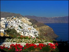Greece - Flower-framed Oia by AgiVega