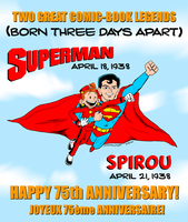 Happy 75th Anniversary, Superman and Spirou by ryuuseipro