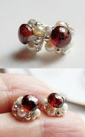 Garnet Pearl and rough Diamond posts by CrysallisCreations
