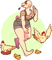chickens by peach-water