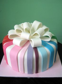 Gift cake in rainbow colors version two by Purplepugz