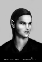 Realistic Drawing -Vampire Portrait '1 BW by angelicetherreality
