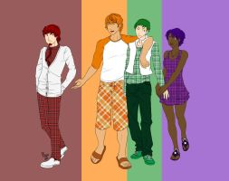 OCs-Rory, Cam, Qing and Violet by fortheloveofpizza